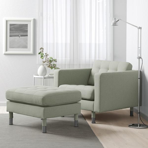 LANDSKRONA armchair Gunnared light green/metal 89 cm 89 cm 78 cm 65 cm 61 cm 44 cm