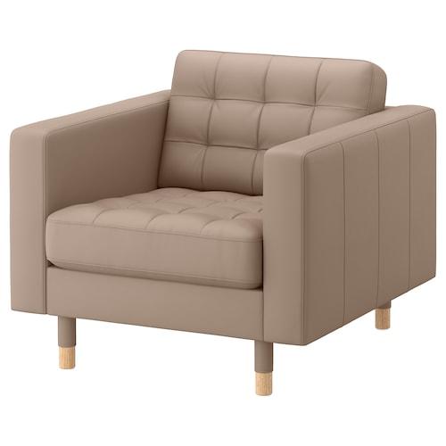 LANDSKRONA armchair Grann/Bomstad dark beige/wood 89 cm 89 cm 78 cm 65 cm 61 cm 44 cm