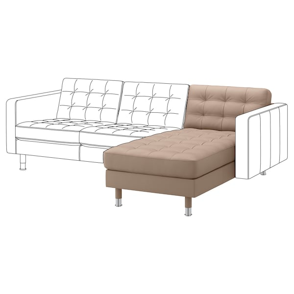LANDSKRONA Chaise longue, add-on unit, Grann/Bomstad dark beige/metal