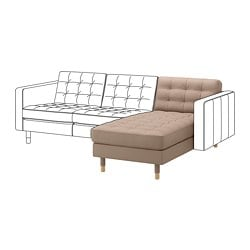 LANDSKRONA chaise longue, add-on unit, Grann/Bomstad dark beige/wood