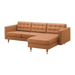LANDSKRONA 3-seat sofa, with chaise longue, Grann/Bomstad golden-brown/metal
