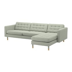 LANDSKRONA 4-seat sofa, with chaise longue, Gunnared light green/wood