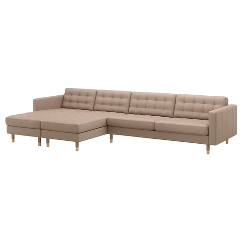 LANDSKRONA 5-seat sofa with chaise longues/Grann/Bomstad dark beige/wood 360 cm 78 cm 89 cm 158 cm 64 cm 61 cm 128 cm 44 cm