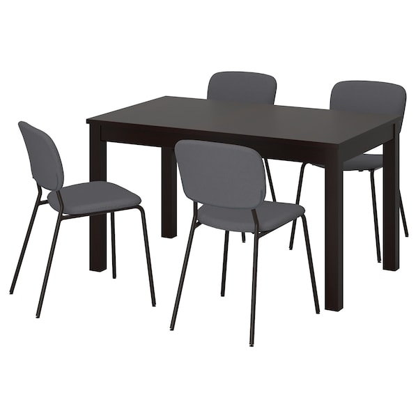 LANEBERG / KARLJAN table and 4 chairs brown/dark grey dark grey 190 cm 130 cm 80 cm