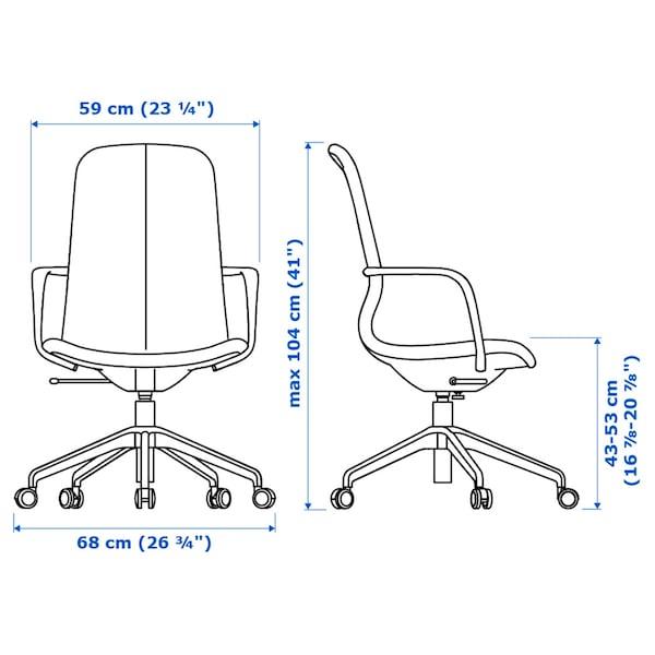 LÅNGFJÄLL office chair with armrests Gunnared beige/black 110 kg 68 cm 68 cm 104 cm 53 cm 41 cm 43 cm 53 cm