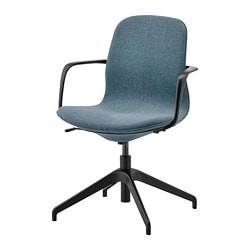 LÅNGFJÄLL conference chair with armrests, Gunnared blue, black