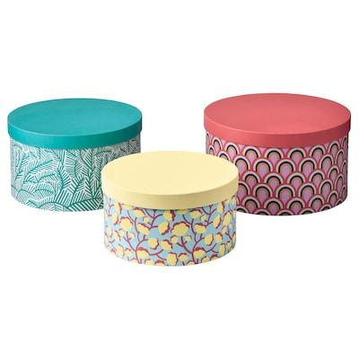 LANKMOJ Box with lid, set of 3, multicolour/paper