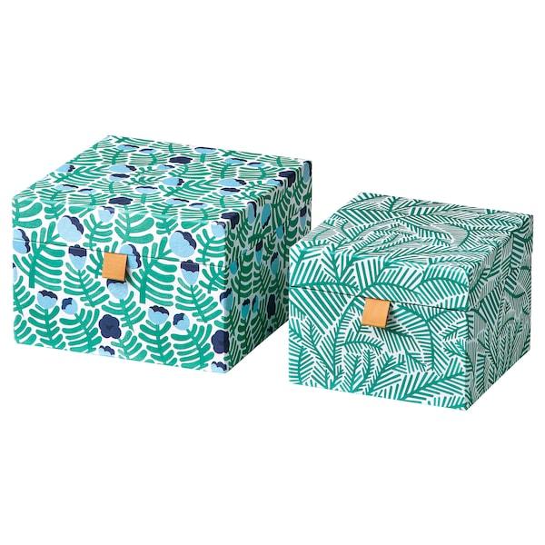 LANKMOJ Decoration box, set of 2, green/blue/floral patterned