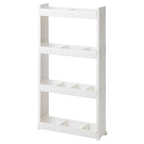 LARSOLE storage unit on castors plastic white 17 cm 57 cm 104 cm 3 kg