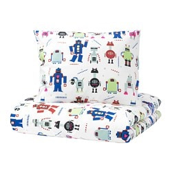 LATTJO quilt cover and pillowcase, small robots, multicolour