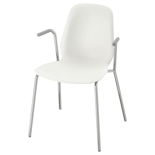 LEIFARNE Chair with armrests, white/Dietmar chrome-plated
