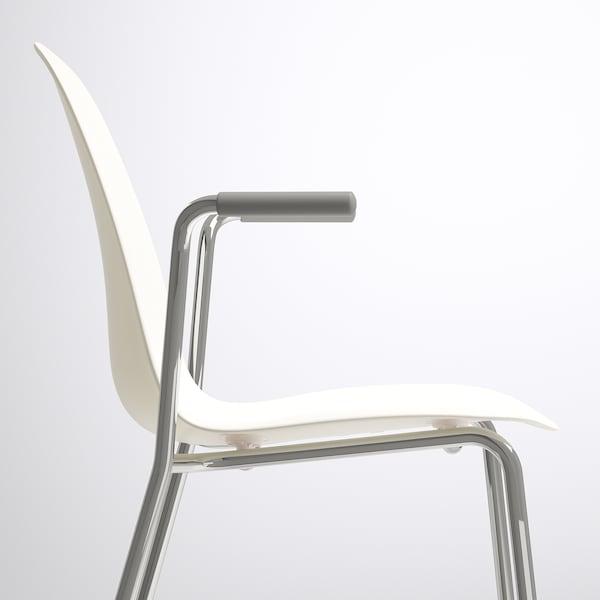 LEIFARNE Chair with armrests, white/Dietmar chrome-plated