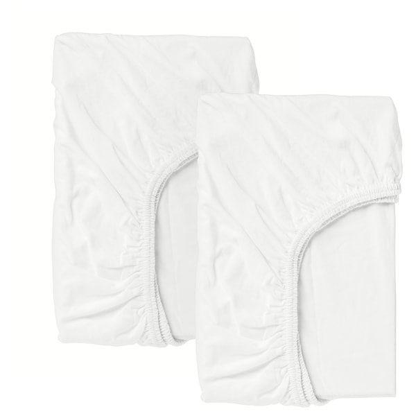 LEN Fitted sheet for cot, white, 60x120 cm