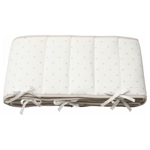 LENAST Bumper pad, dotted/white grey, 60x120 cm