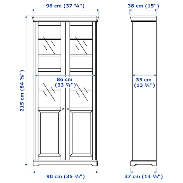 LIATORP Bookcase with glass-doors, white, 96x215 cm