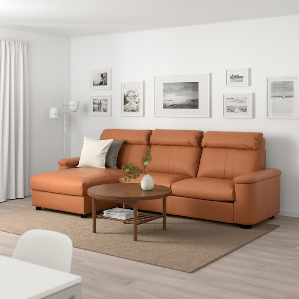 LIDHULT 3-seat sofa-bed, with chaise longue/Grann/Bomstad golden-brown