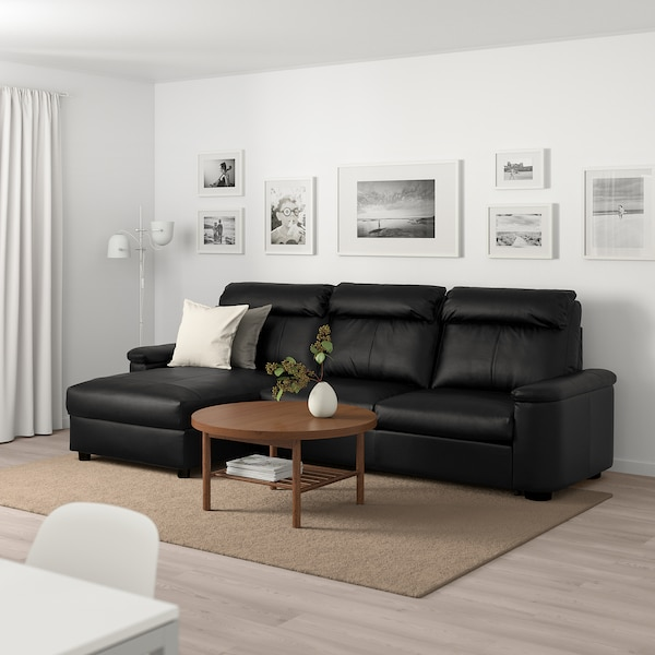 LIDHULT 3-seat sofa-bed with chaise longue/Grann/Bomstad black 102 cm 76 cm 164 cm 298 cm 98 cm 120 cm 7 cm 231 cm 53 cm 45 cm 140 cm 200 cm