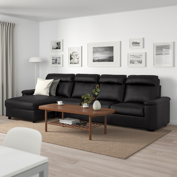 LIDHULT 4-seat sofa, with chaise longue/Grann/Bomstad black