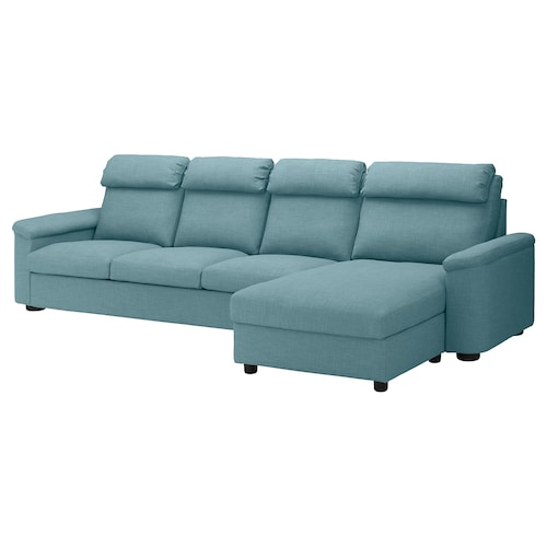 LIDHULT 4-seat sofa with chaise longue/Gassebol blue/grey 102 cm 74 cm 164 cm 349 cm 98 cm 128 cm 7 cm 301 cm 53 cm 45 cm