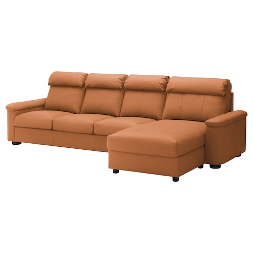 LIDHULT 4-seat sofa with chaise longue/Grann/Bomstad golden-brown 102 cm 74 cm 164 cm 349 cm 98 cm 120 cm 7 cm 301 cm 53 cm 45 cm