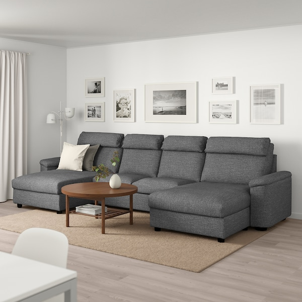 LIDHULT 4-seat sofa with chaise longues/Lejde grey/black 102 cm 76 cm 164 cm 369 cm 98 cm 120 cm 7 cm 321 cm 53 cm 45 cm