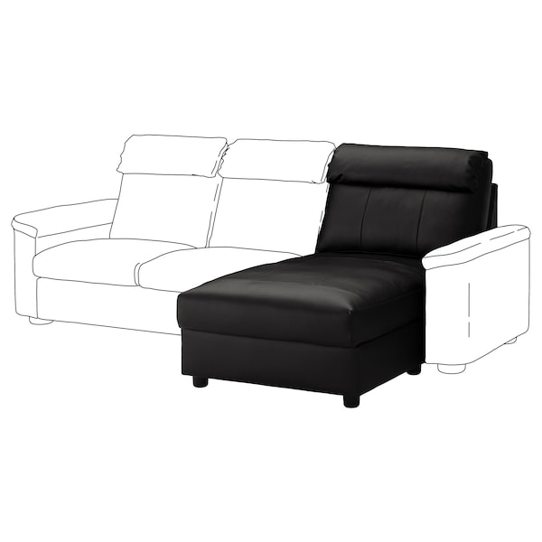 LIDHULT chaise longue section Grann/Bomstad black 95 cm 74 cm 90 cm 164 cm 7 cm 90 cm 128 cm 42 cm
