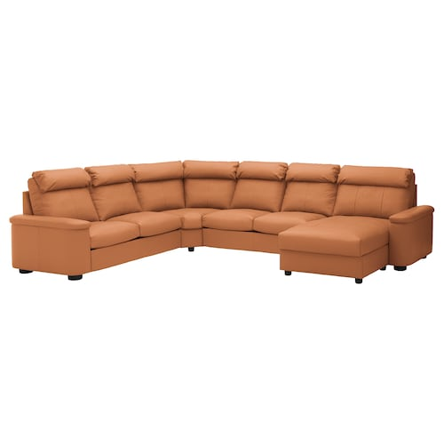 LIDHULT corner sofa, 6-seat with chaise longue/Grann/Bomstad golden-brown 102 cm 76 cm 164 cm 98 cm 120 cm 367 cm 275 cm 7 cm 53 cm 45 cm