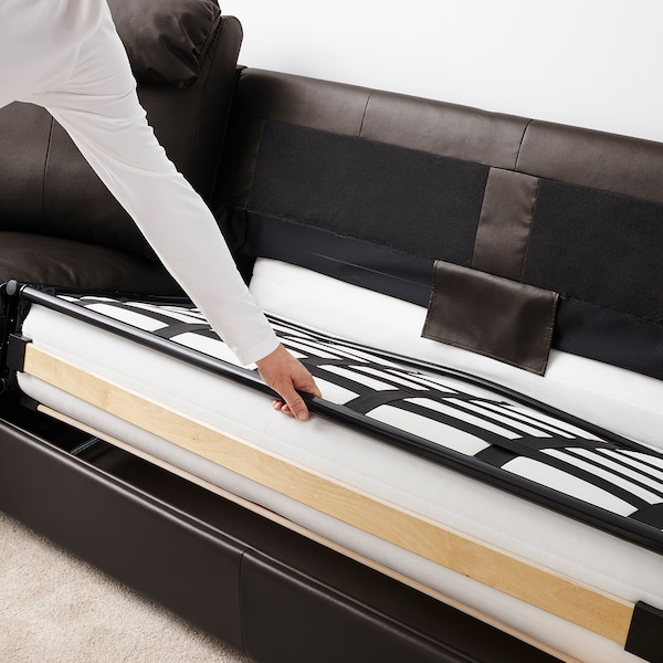 LIDHULT corner sofa-bed, 5-seat Grann/Bomstad dark brown 102 cm 76 cm 98 cm 294 cm 275 cm 7 cm 53 cm 45 cm 140 cm 200 cm