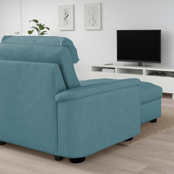 LIDHULT Corner sofa-bed, 6-seat, with chaise longue/Gassebol blue/grey