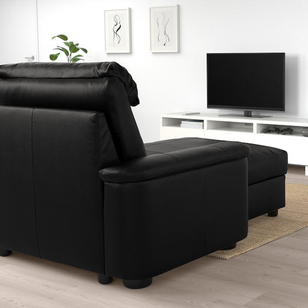 LIDHULT corner sofa-bed, 6-seat with chaise longue/Grann/Bomstad black 102 cm 76 cm 164 cm 98 cm 387 cm 275 cm 7 cm 53 cm 45 cm 140 cm 200 cm