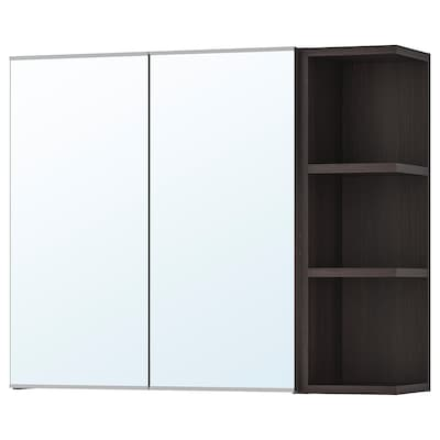 LILLÅNGEN Mirror cabinet 2 doors/1 end unit, black-brown, 79x21x64 cm