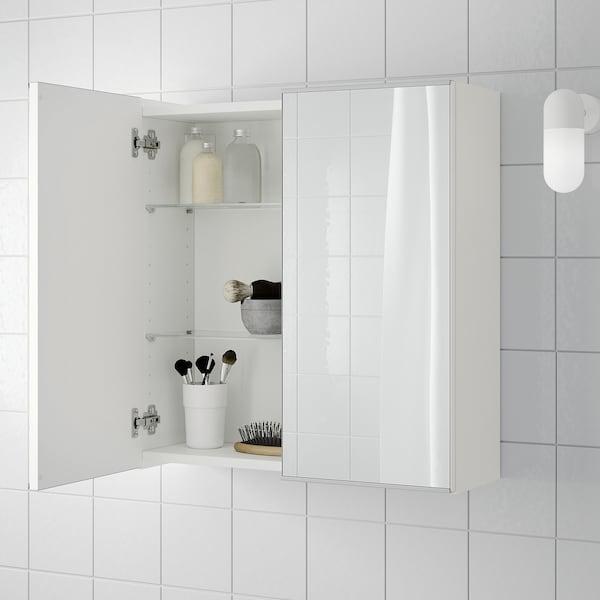 LILLÅNGEN Mirror cabinet with 2 doors, white, 60x21x64 cm