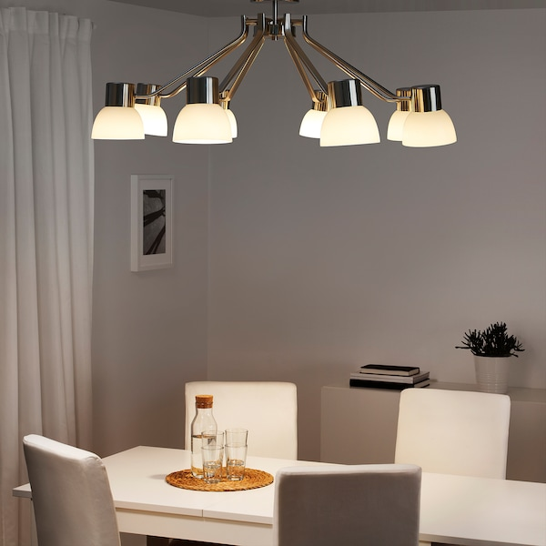 LINDSHULT Chandelier, 8-armed, nickel-plated