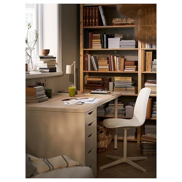 LINNMON / ALEX Table, white white stained oak effect/white, 150x75 cm
