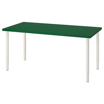 LINNMON / OLOV Table, green/white, 150x75 cm