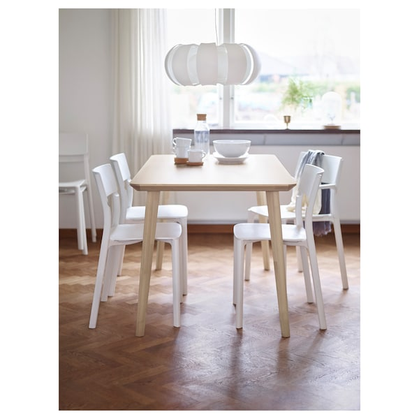 LISABO / JANINGE table and 4 chairs ash veneer/white 140 cm 78 cm 74 cm