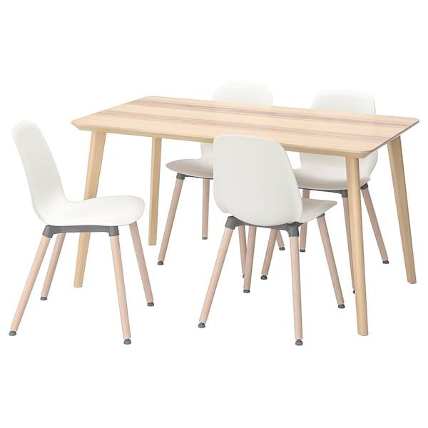 LISABO / LEIFARNE table and 4 chairs ash veneer/white 140 cm 78 cm 74 cm