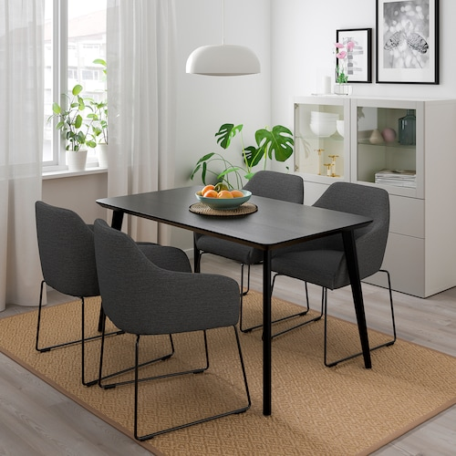 LISABO / TOSSBERG table and 4 chairs black metal/grey 140 cm 78 cm