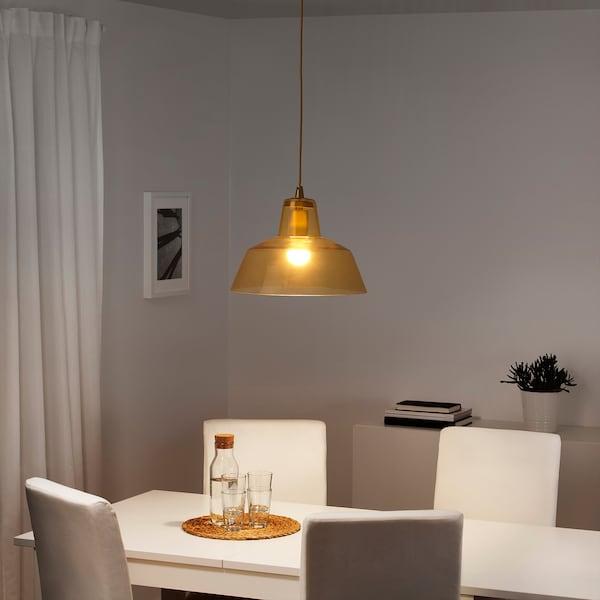 LISPUND pendant lamp glass/yellow 34 cm