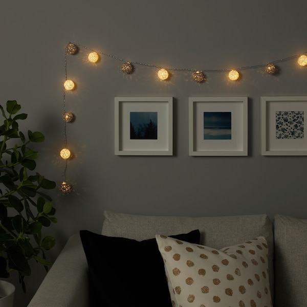 LIVSÅR LED lighting chain with 12 lights indoor/battery-operated grey/white 0.5 m 15 cm 4.5 cm 0.3 W 2.1 m