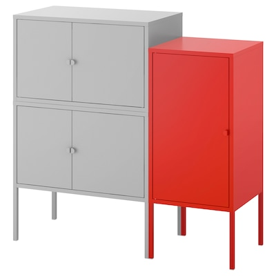 LIXHULT Cabinet combination, grey/red, 95x35x92 cm
