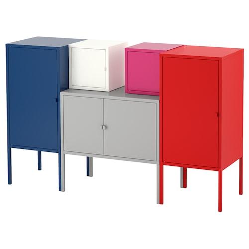 LIXHULT Storage combination, dark blue grey/white/pink/red, 130x82 cm