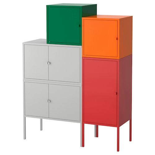LIXHULT storage combination grey dark green/red/orange 105 cm 127 cm 95 cm 35 cm 127 cm 21 cm 12 kg