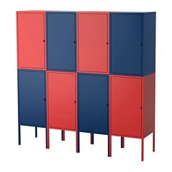 LIXHULT storage combination, dark blue, red