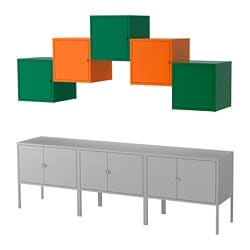 LIXHULT storage combination, grey dark green, orange