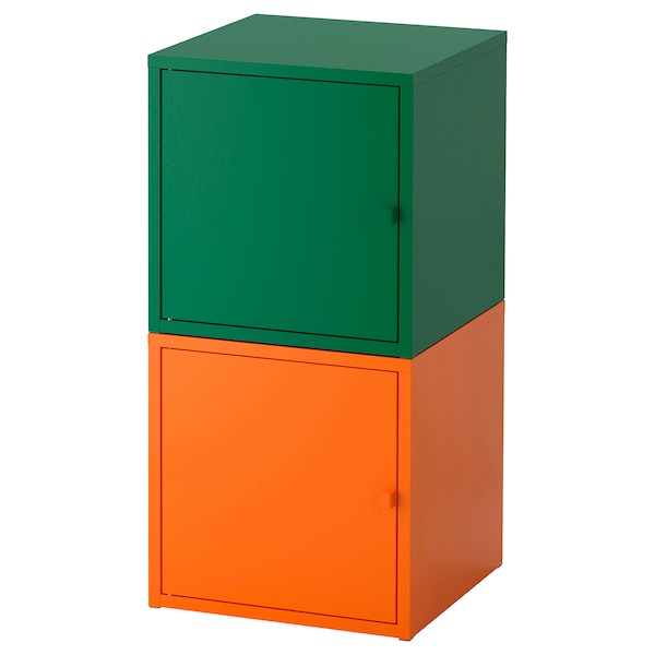 LIXHULT storage combination dark green/orange 35 cm 35 cm 70 cm