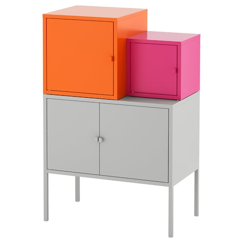 LIXHULT storage combination grey orange/pink 70 cm 92 cm 60 cm 35 cm 21 cm