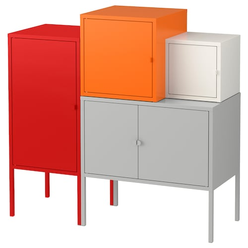 LIXHULT storage combination grey/white/orange/red 70 cm 92 cm 95 cm 35 cm 92 cm 21 cm 12 kg