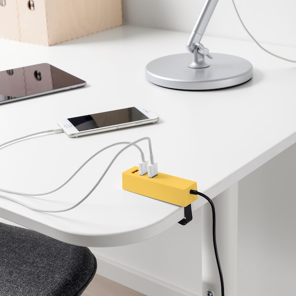 LÖRBY USB charger with clamp, yellow