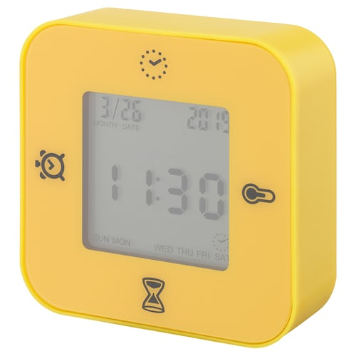 LÖTTORP clock/thermometer/alarm/timer yellow 7 cm 3 cm 7 cm